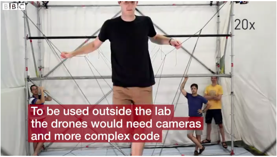 Drones build rope bridge that humans can cross